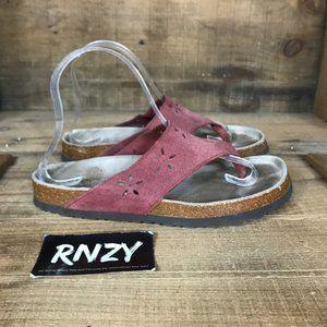 L.L. Bean Burgundy Leather Flip Flop Sandals